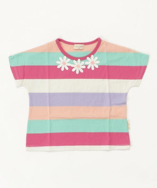 型切り替えのないカラフルボーダーTシャツ