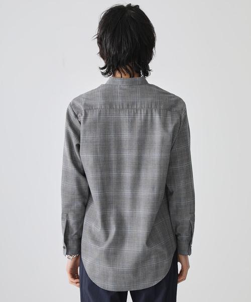 【STUDIOUS】グレンチェックバンドカラーシャツ