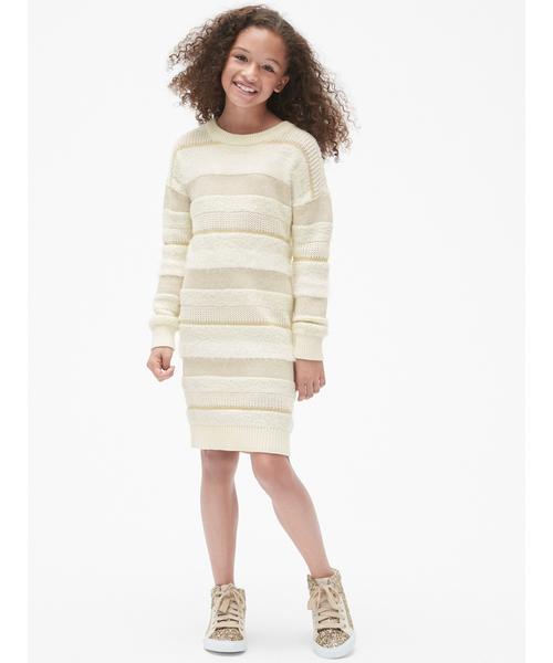 ストライプ テクスチャー セータードレス