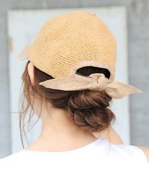 14+(イチヨンプラス)のコマ編みリボンCAP 14+オリジナル バックリボン キャップ レディース 帽子 BIG(キャップ)