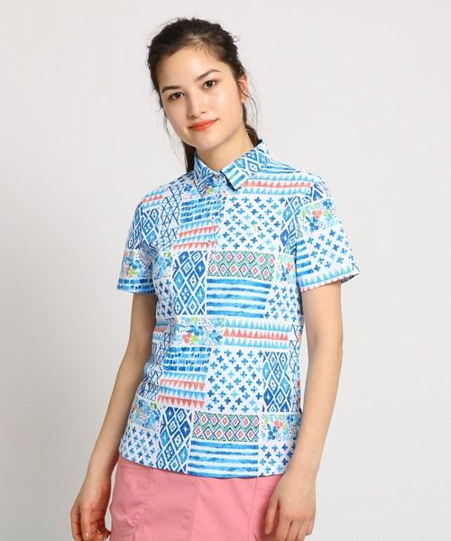【遮熱効果】【UVカット】ジオメトリック柄半袖ポロシャツ レディース