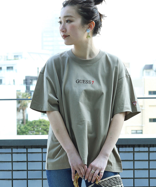 ▽【WEB限定】GUESS×FREAK'S STORE/ゲス 別注 SUPER BIG GUESS LOGO TEE/スーパービッグ 刺繍ロゴ半袖Tシャツ