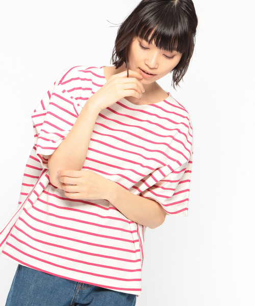 【UVカット】サイドパネルボーダートップス / LAKOLE