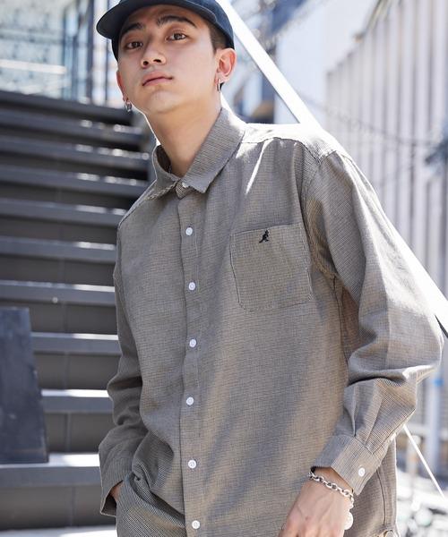 MONO-MART×KANGOL カンゴール 別注 オーバーサイズ チェックフランネルシャツ/レギュラカラーシャツ