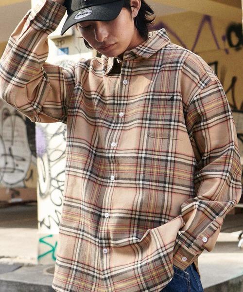 MONO-MART×KANGOL カンゴール 別注 オーバーサイズチェックシャツ/フランネルシャツ