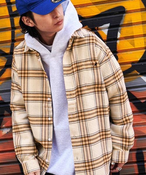 【ユニセックスで着用可能!】MONO-MART×KANGOL カンゴール 別注 オーバーサイズチェックシャツ/フランネルシャツ