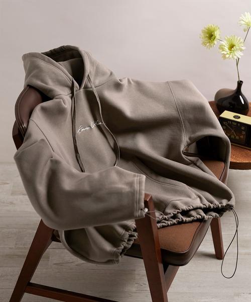 ビッグシルエット裏起毛ヨークドローコードデザイン ロゴ刺繍プルオーバーパーカー(EMMA CLOTHES)