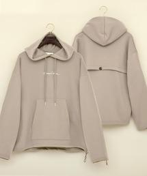 ビッグシルエット裏起毛ヨークドローコードデザイン ロゴ刺繍プルオーバーパーカー(EMMA CLOTHES)グレイッシュベージュ
