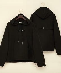 ビッグシルエット裏起毛ヨークドローコードデザイン ロゴ刺繍プルオーバーパーカー(EMMA CLOTHES)ブラック