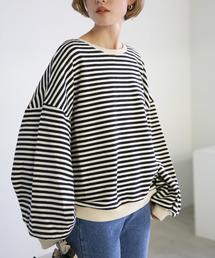 select MOCA(セレクトモカ)のゆったりルーズオーバーシルエットコットンブレンドバルーンスリーブ後ろ長めボーダープルオーバー(Tシャツ/カットソー)