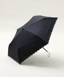 Afternoon Tea(アフタヌーンティー)のスカラップフラワー刺繍晴雨兼用折りたたみ傘 日傘(折りたたみ傘)