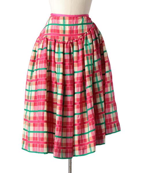 Drawer ブロックチェックアシンメトリースカート