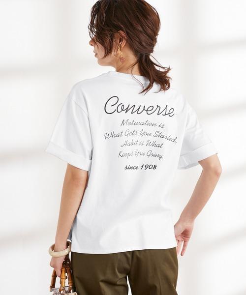 CONVERSE/コンバース Chaco closet別注 袖ロールアップバックロゴプリント半袖Tシャツ