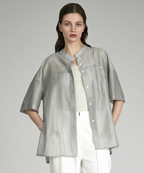 【UNSPOKEN】Stand‐up collar sheer shirt UX21S056
