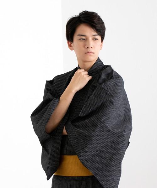 KYOETSU(キョウエツ)の「しじら浴衣4点セット(浴衣)」 ブラック