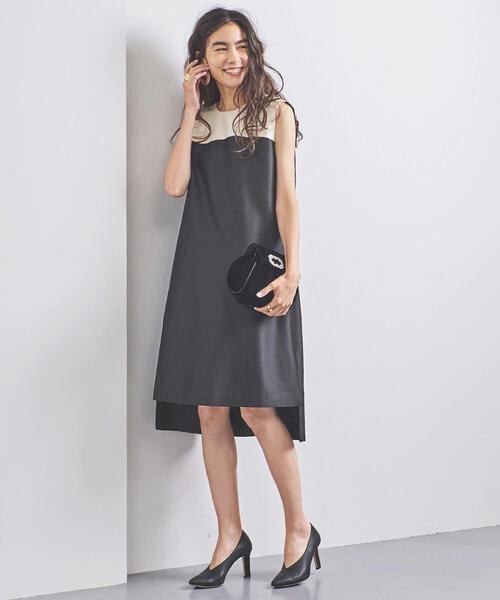 FLICKA(フリッカ)の「一部別注<FLICKA(フリッカ)>バイカラー Aラインワンピース(ドレス)」 ブラック