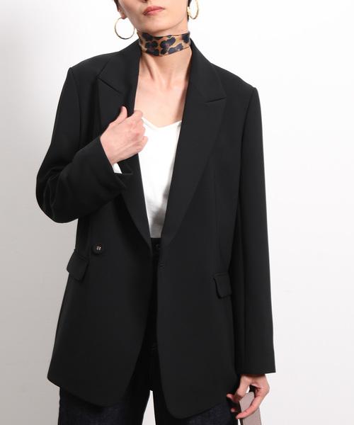 ROPE' mademoiselle(ロペマドモアゼル)の「【セットアップ対応】ダブルクロスロングジャケット(テーラードジャケット)」|ブラック