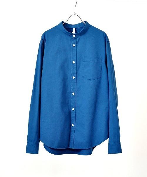 UP START(アップスタート)の「後染めツイルバンドカラーシャツ(シャツ/ブラウス)」|ダークブルー