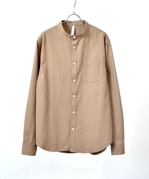 UP START(アップスタート)の「後染めツイルバンドカラーシャツ(シャツ/ブラウス)」|サンドベージュ