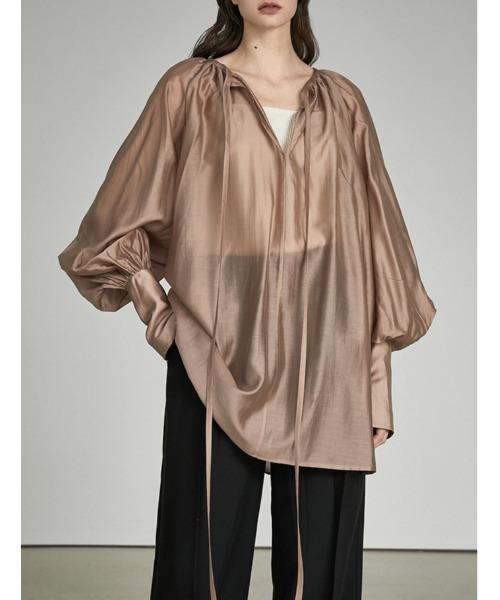 【UNSPOKEN】Sheer lace-up blouse UX21S065