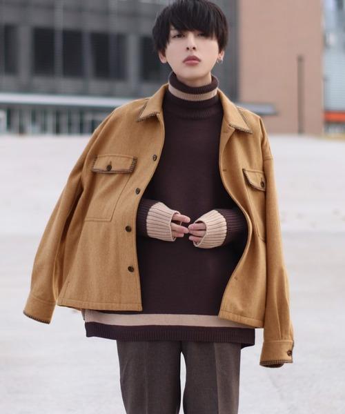 ファッションインフルエンサー ろむし × BASQUE magenta フェイクメルトン バイカラー ステッチ×チェックデザインCPOジャケット