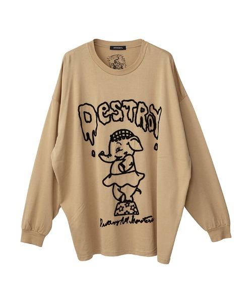 DESTROY ALL MONSTERS/ELEPHANT刺繍 オーバーサイズTシャツ