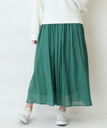【THE CHIC】レーヨンマキシスカートグリーン