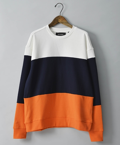 AZIONE/アジオネ/裏毛配色切り替えスウェットクルーネック