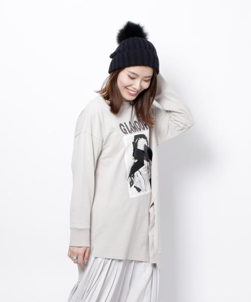 Re.Verofonna(ヴェロフォンナ)の「GLAMOUR ロンT(Tシャツ/カットソー)」|グレイッシュベージュ