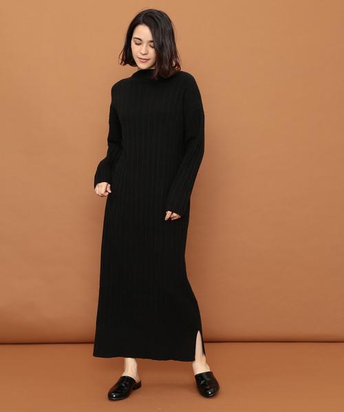 ★大人気商品★ ミニケーブルロングニットドレス, はぴキャラ 40e0a1f9