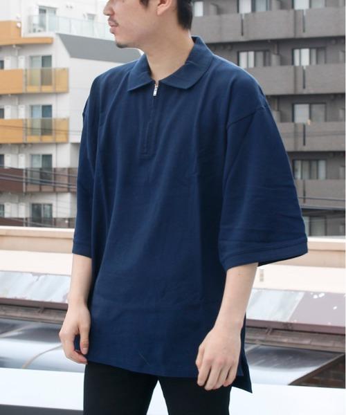 嵐 大野智さん着用 LIDNM リドム / VOTE MAKE NEW CLOTHESコラボハーフジップビッグポロシャツ 18SS-0090AB