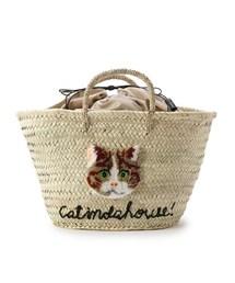 aquagirl(アクアガール)の【WEB限定】CAT IN DA HOUSE! キャットフェイスかごバッグ(トートバッグ)