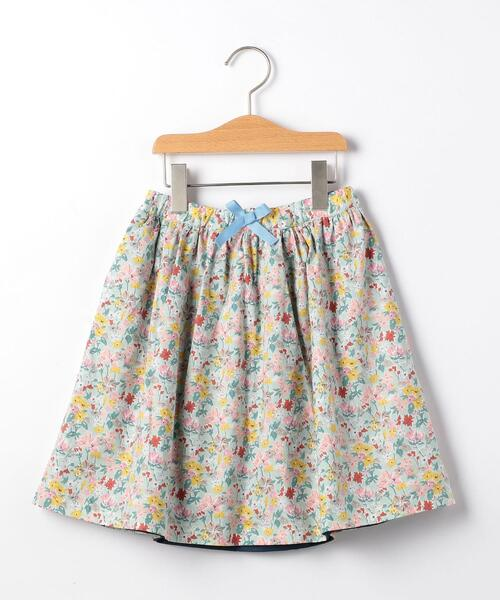花柄×無地 リバーシブルスカート �U