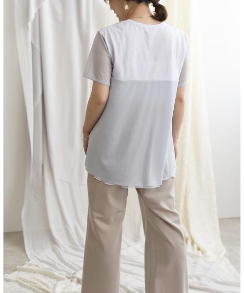 シアー切り替えシフォンTシャツ