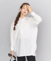 BY コットンタイプライターワイドスキッパーネックシャツ2 ◆