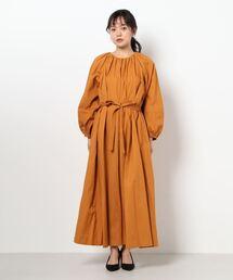 【THE CHIC】綿麻ウェザーワンピースオレンジ