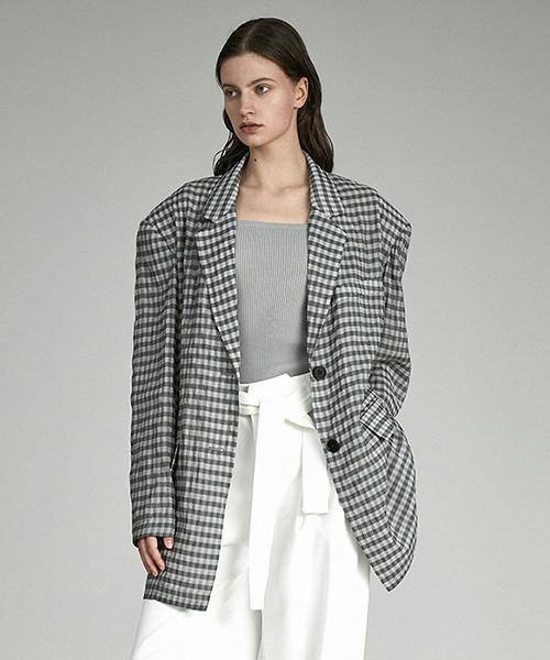 【UNSPOKEN】Gingham plaid jacket UX21W026