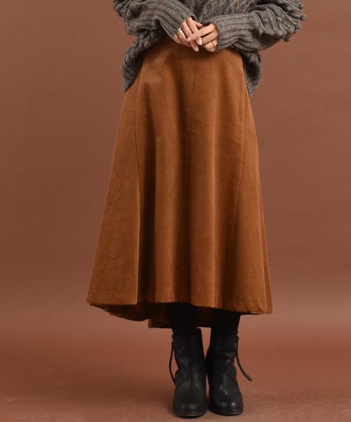Audrey and John Wad(オードリーアンドジョンワッド)の「【Made in JAPAN】コーデュロイイレギュラーヘムスカート《ひざ下丈》(スカート)」|モカ