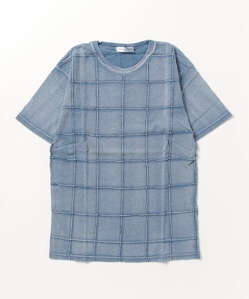綿100%インディゴカットデニムスクエアピンタック半袖Tシャツカットソー