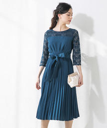 form forma(フォルムフォルマ)のレース切替ベルト付きプリーツワンピース(ドレス)