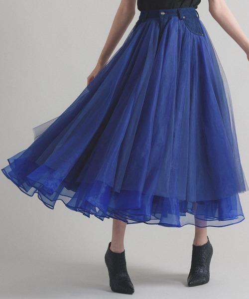 la belle Etude(ラベルエチュード)の「【LA BELLE ETUDE】【Belle vintage】デニムドッキングボリュームチュール×オーガンジースカート(スカート)」 ブルー