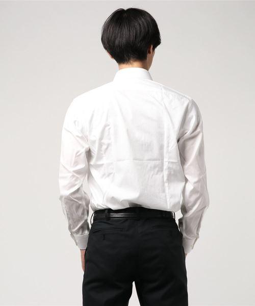 アレキサンダージュリアンメンズ/ALEXANDER JULIAN:MEN 綿100%100双 形態安定白無地ワイドカラービジネスドレス長袖シャツ