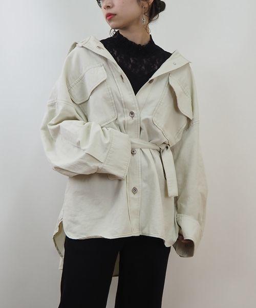 tiptop(ティップトップ)の「ベルト付きビッグシャツ【ZOZOTOWN限定アイテム】(シャツ/ブラウス)」|オフホワイト