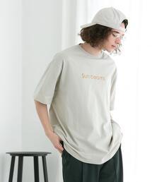FEELING MADE ブラッシュドコットン フロッキープリント Tシャツ