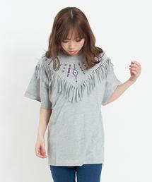 SpRay(スプレイ)の【新色登場】オルテガ刺繍フリンジTシャツ(Tシャツ/カットソー)