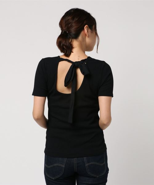 バック リボン ホルター Tシャツ