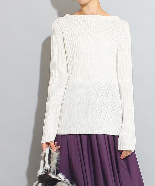 変形編み柄切替プルオーバー