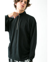 <monkey time> 40SMOOTH HALF ZIP/カットソー