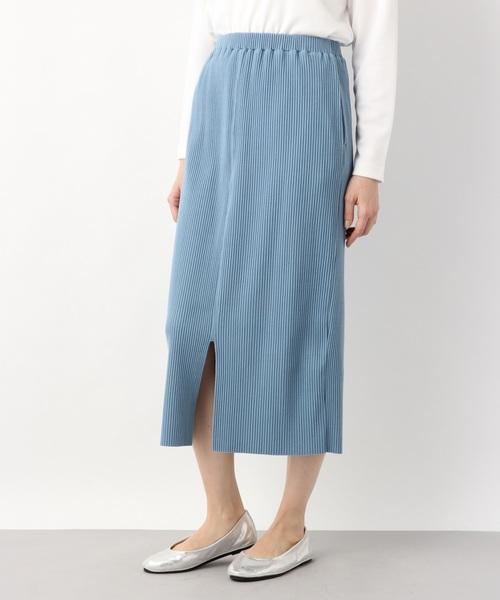 LEPSIM(レプシィム)の「リブロングナロースカート 825796(スカート)」|ブルー