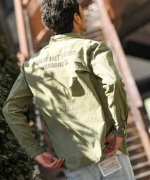 BAYFLOW(ベイフロー)のコットンリネンプリントワークシャツ(シャツ/ブラウス)
